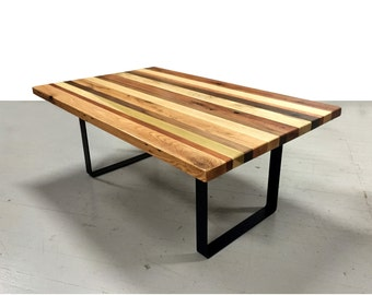 Salvaged Hardwood Coffee Table with Steel Legs