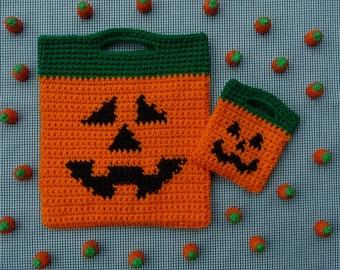 Jack O Lantern Halloween Bags Crochet PATTERN - INSTANT DOWNLOAD
