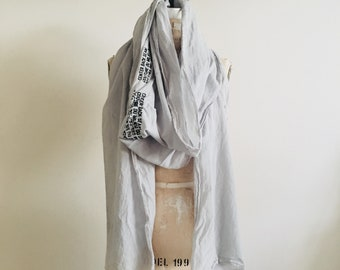sale, Gray Scarf Spring , Long, Summer, lightweight cotton printed text, artlab brooklyn