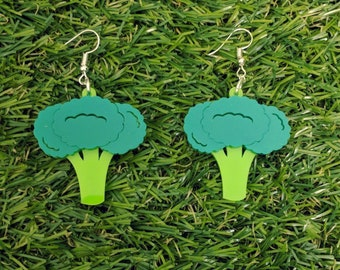 Broccoli laser cut acrylic earrings /// vegetable vegetarian vegan food novelty jewellery jewelry perspex plastic gift