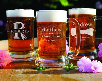 3 Beer Mugs - Engraved Glassware - Wedding Favors - Groomsman Gift - Best Man - Home Bar - Dad Gift - For Him - For Guys - Steins - Husband