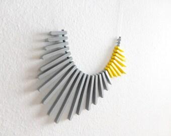 yellow grey geometric necklace, minimalist concept contemporary jewelry
