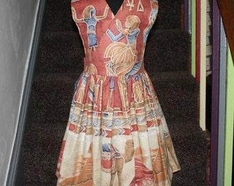 Egyptian print sun dress