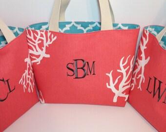 X-LARGE REVERSIBLE Turquoise Quatrefoil Fulton and Coral Handbag/ Diaper Bag/ Purse/ Tote/ Beach Bag