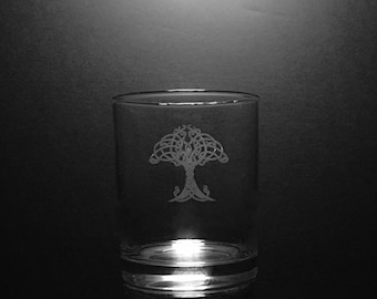Irish Tree Of Life Old Fashion 13 Ounce Rocks Glass
