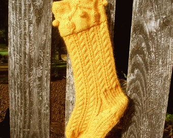 PDF Knitting Pattern  Christmas Garland Stocking Lambs Pride Worsted cables bobbles digital