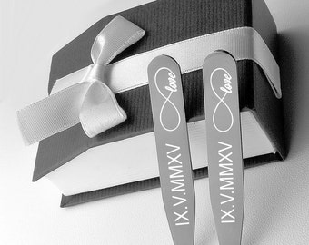Personalized Collar Stays, Premium Quality Gunmetal Collar Stays Set Engraved Free, Wedding Accessories, Groomsmen Gifts, Buy 6 Get 7th Free