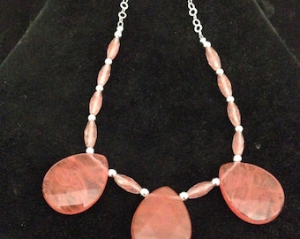 925 Silver and cherry quartz necklace