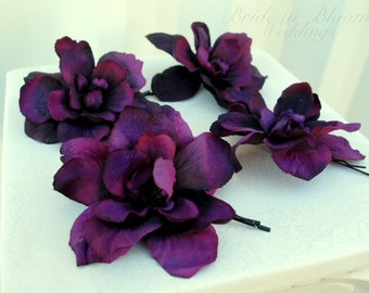 Wedding hair accessories Plum purple delphinium bobby pins set of 4 Bridal hair flowers