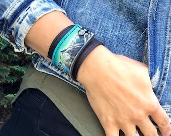 Leather Cuff Women's Bracelet Wrap, Glacier Mountain Digital Photo Print on 100% Genuine Leather