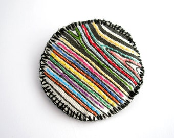 Embroidered geometric brooch, stripes jewelry, fabric textile jewelry, shabby chic brooch, women's gift, under 20, embroidered badge pin