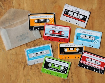Cassette sticker set, with mixed tape labels
