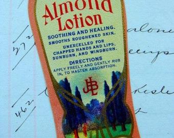 Gorgeous Antique Vintage Cream and Almond Lotion Label