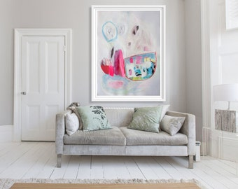 """ABSTRACT painting, giclee print, pink, white, blue, modern painting """"Ropes and Tables"""""""