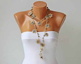 Crochet beaded  necklace  ,turkish oya necklace , crochet necklace ,