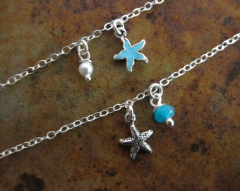 Tiny starfish ankle bracelet with stone and a touch of enamel sterling silver