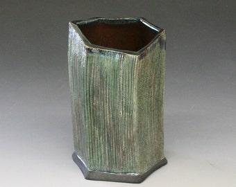 Raku Hexagonal Vase in Emerald Iridescent Colors