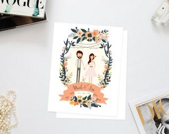 Couples + Family Portrait Wedding Invites /// Illustrated Couples Portrait /// Illustrated Family Portrait