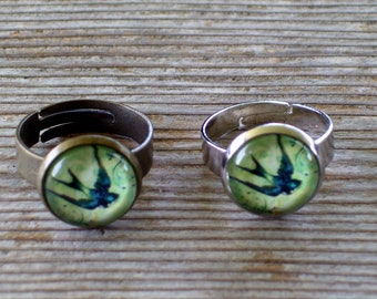 Sparrow Ring, Bird Jewelry, Silver Bird Ring, Brass Bird Ring, Soaring Sparrow Ring, Adjustable Ring, Nature Jewelry