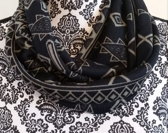 CLEARANCE-Black Geometric Infinity Scarf - Handmade - gift for her - under 20 -
