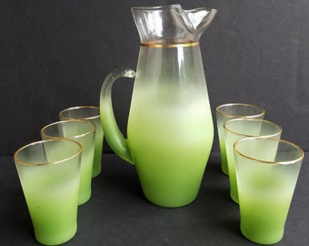 Green with Gold Trim Blendo Pitcher and Glasses 7 Piece Set