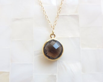 Step-Cut Faceted Smoky Quartz Vermeil Bezel Pendant on Gold Chain Necklace (N1499)