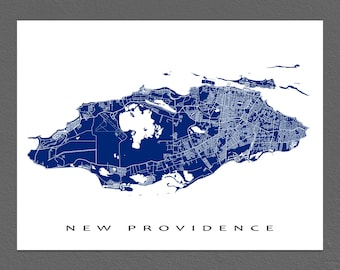 New Providence Map Print, Nassau Map Art, The Bahamas, Caribbean Island