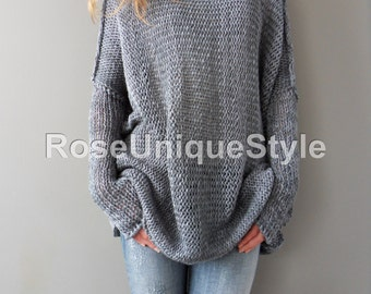 Oversized / Bulky / Slouchy woman knit  sweater. Cotton blend,  loose knit sweater.