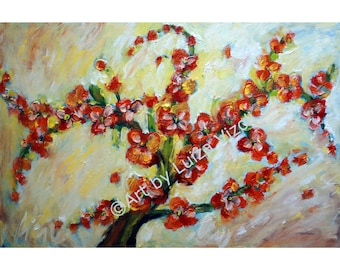 ORIGINAL FLORAL Painting 60x36 Oil Impasto Modern Art Deco Painting on Canvas Large Artwork by Luiza Vizoli