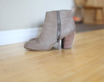 vintage  brown leather suede ankle boots western booties womens  8 1/2