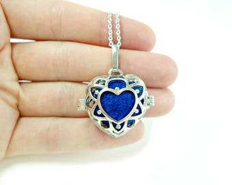 Heart Locket Necklace, Essential Oil Diffuser Necklace, Mothers Day Jewelry, Silver Heart Jewellery, Aromatherapy Gifts, Heart Pendant