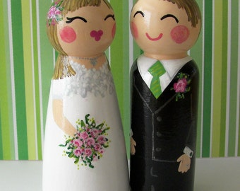 Hand Painted Love Boxes Custom Wedding Bride Groom Cake Topper Peg Dolls Wood