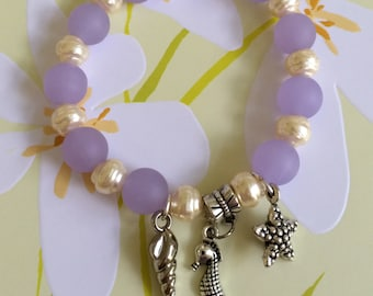 Sea Glass , Pearl and Silver Shells Bracelet