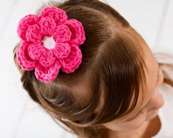 Hot Pink Hair Clip Crochet Flower Hair Clip Flower Barrette Hot Pink Flower Hot Pink Barrette Electric Pink Neon Pink Spring Hair Clip