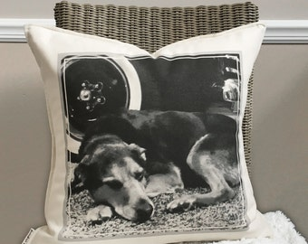 """18"""" Custom Photo Pillow Cover - Your Photo On A Pillow - Customizable Picture Pillow - Cotton Duck Closure - Loop and Button Closure"""