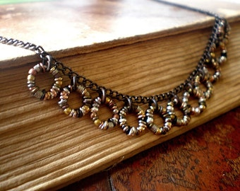 Rustic Fringe Necklace, Ring Links, Bib, Mixed Metal Beads, Hoops, Circles, Organic Boho Jewelry, Unique Women's Choker
