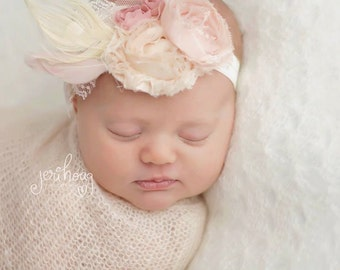 Khalia - Vintage Inspired Pink Cream Floral Rosettes Lace Feathers Headband - Girls Newborns Baby Infant Adults