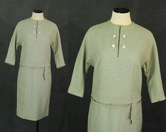 Vintage 60er Jahre Wollkleid - 1960er Jahre Sage Green Plaid Shift Kleid Sz M