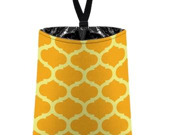 Car Trash Bag // Auto Trash Bag // Car Accessories // Car Litter Bag // Car Garbage Bag - Moroccan Trellis (tangerine orange citrus green)
