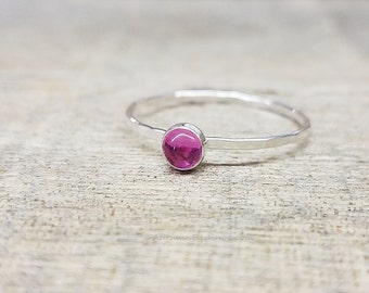 Pink Sapphire Ring Sterling Silver Stacking Ring