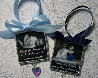 Personalized Photo Ornament, Soldered Glass, Personalized, Mother's Day Gift, Baby Shower, First Christmas, Family Photo Frame