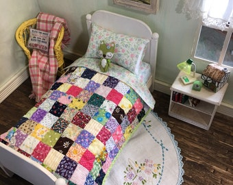 6 Piece Playscale Doll Bed Set: Quilt, Mattress, Sheets and Bed  ~ Wooden Furniture for Barbie, Blythe and Similar Sized Dolls