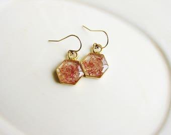 Pink Moss Earrings, Hexagon Earrings, Earthy Nature Jewelry, Resin Jewelry, Reindeer Moss Earrings, Minimalist Pink Earrings, Geometric