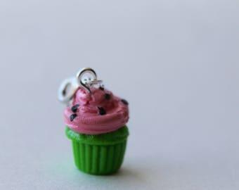 Bright Green and Pink Watermelon Cupcake Charm/Sweet Treat Bracelet Charm/ Fake Dessert Food/ Miniature Polymer Clay