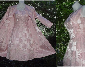 SALE! 1960s Dress with Matching Coat Jacket Pink Satin Vintage Shiny Pink Brocade 60s Wiggle 2-piece Set Jackie O Kennedy Style Suit S/Small