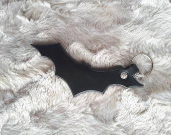 Leather Bat Keychain