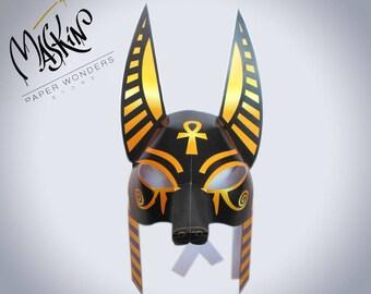 Anubis mask printable.  Egyptian mask. Mask pattern Anubis costume mask. Egyptian costume mask. Egyptian party. Anubis  mask pattern. Anubis