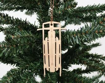 Schlitten Ornament   Holz Ornament   Urlaub Dekoration   Urlaub Ornament   Christmas Ornament   Wohnkultur   Schlitten   Hergestellt in Maine