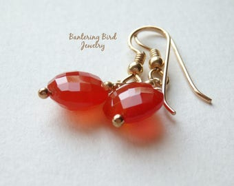 Gold Carnelian Earrings, Orange Gemstone Coin Drop, Gold Jewelry, Mother's Day Gift