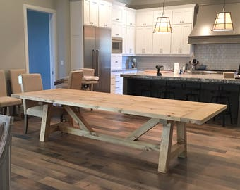"""Beam Base Dining Table with 2"""" Thick Top"""